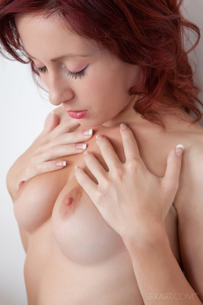 Sensual redhead is touching meaty pussy - 8