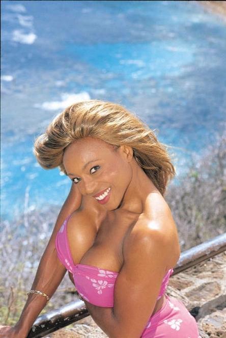 Busty ebony is posing on the beach - Anna More - 1
