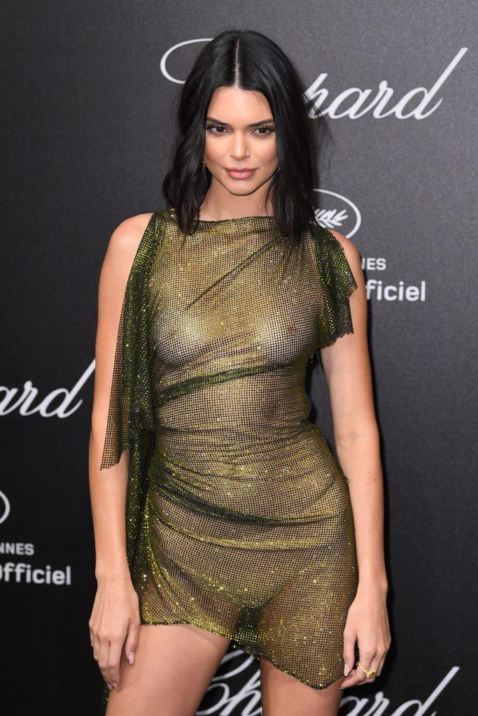 Kendall Jenner is showing tits in transparent dress - 11