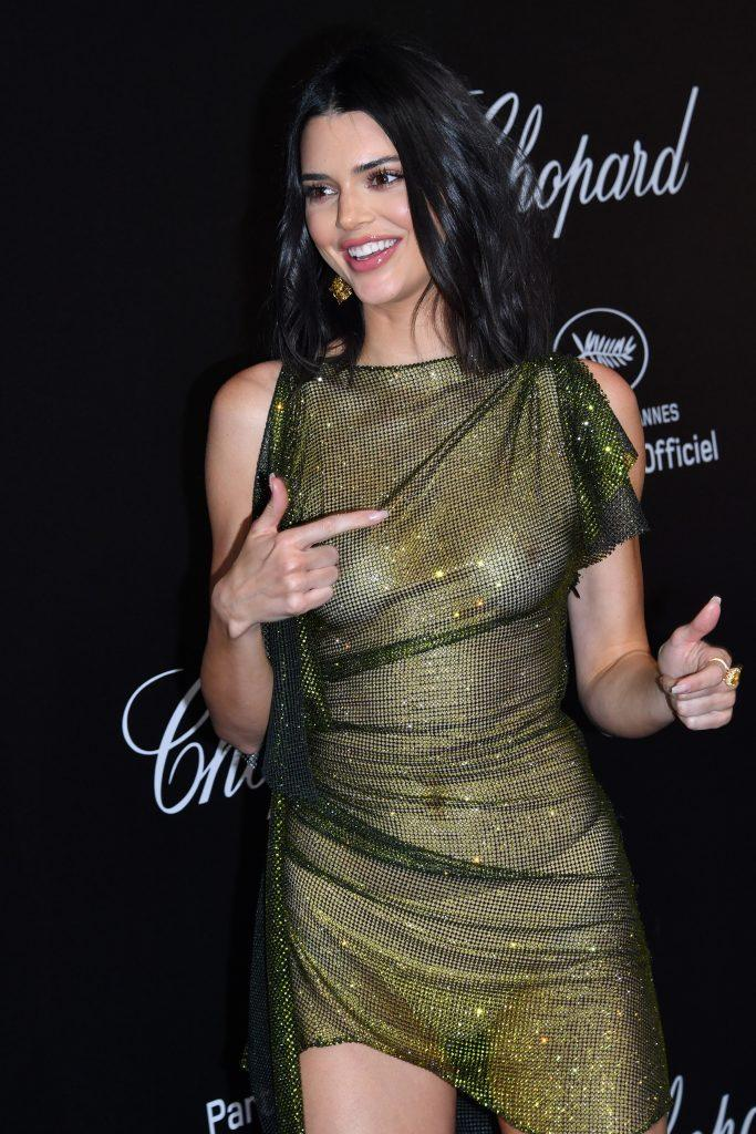 Kendall Jenner is showing tits in transparent dress - 17