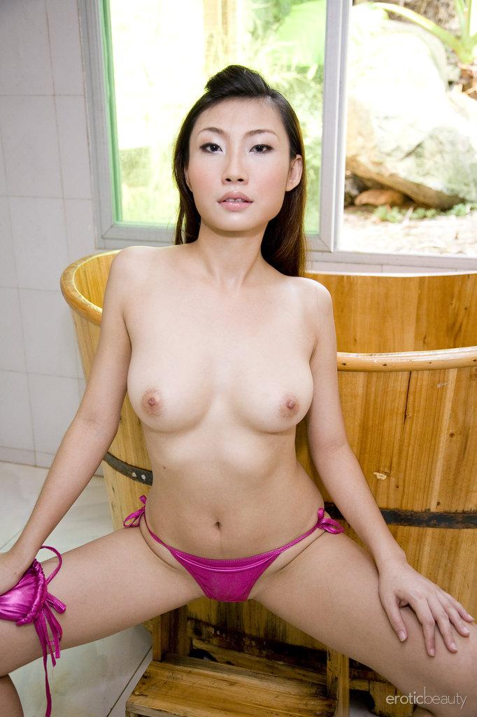 Pretty Asian is posing in the bathroom - Sophier - 5
