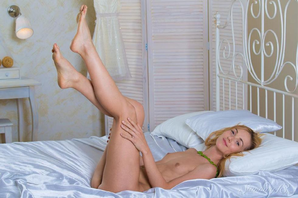 Slim blonde on the bed - Ruby - 14