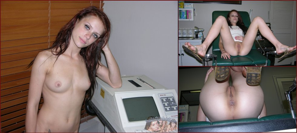 Red-haired Jenna spreads legs in doctor's office - 40