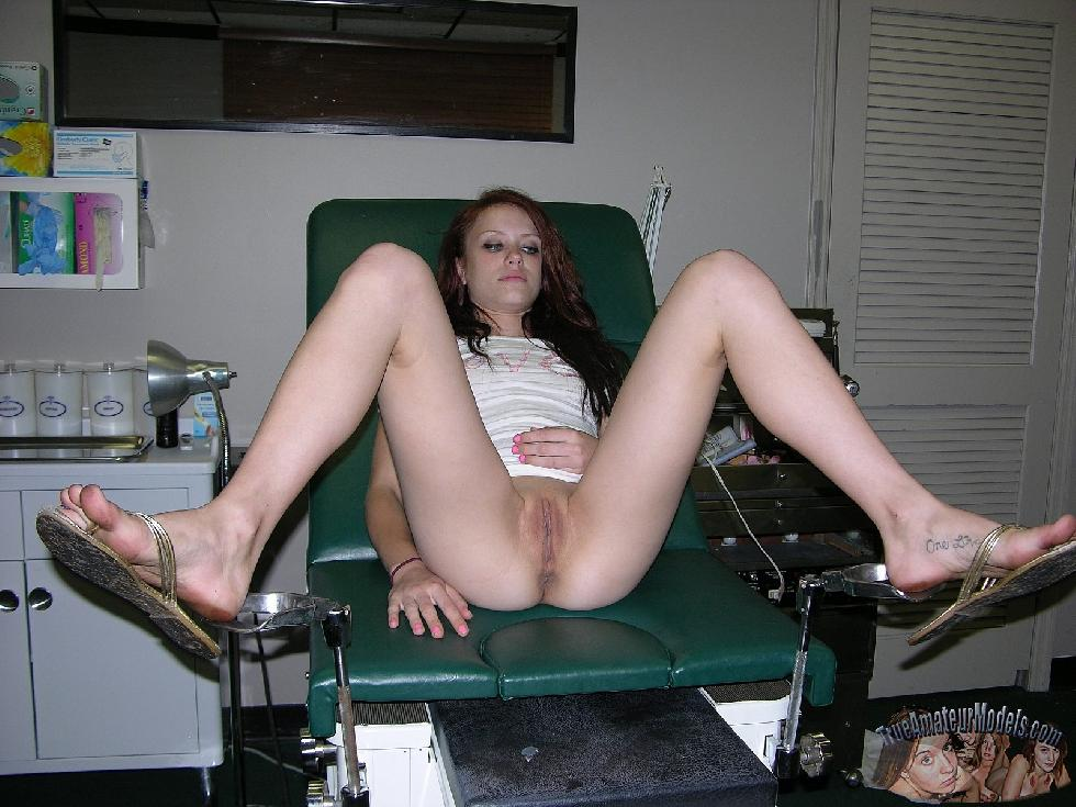 Red-haired Jenna spreads legs in doctor's office - 2