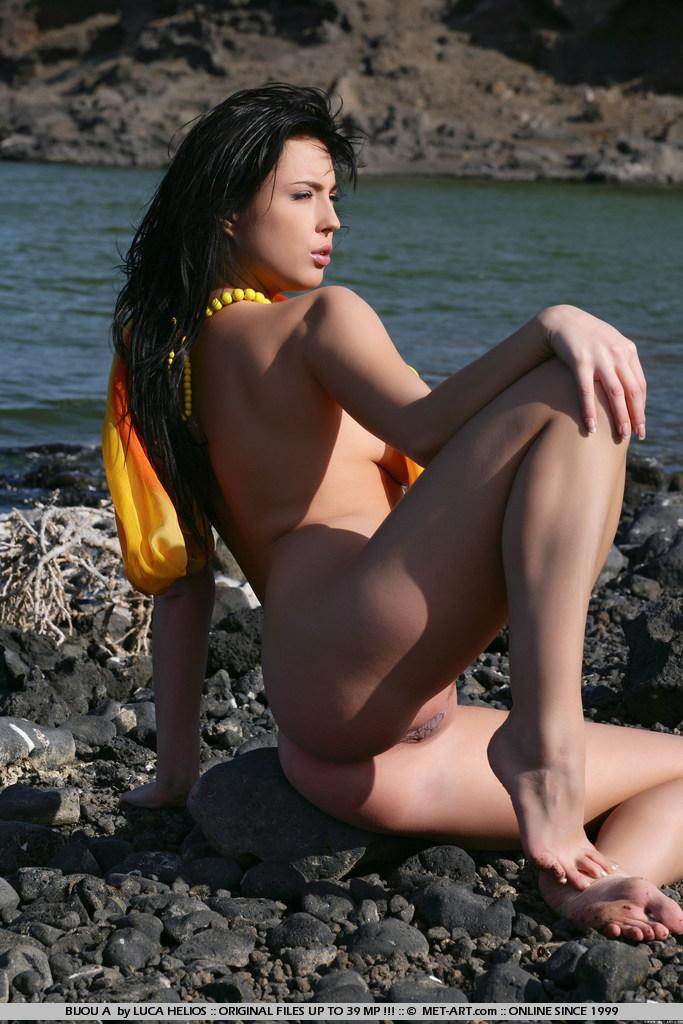 Naked Bijou is tempting on the rocky beach - 13