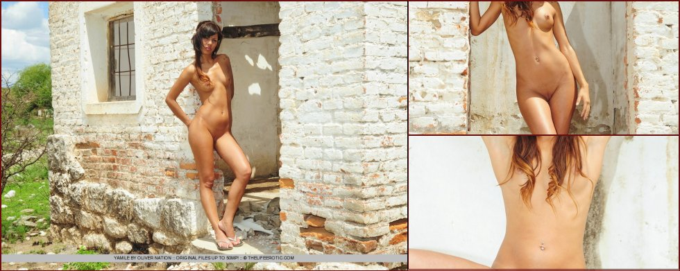 Young Yamile is posing naked in ruined house - 37
