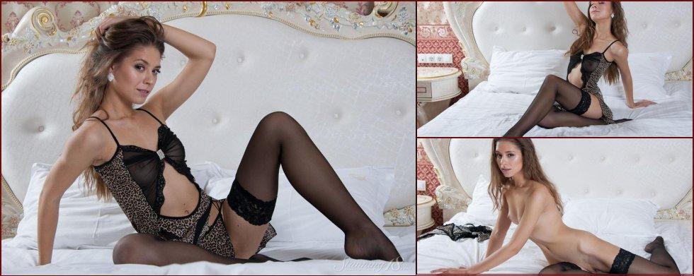Stunning Olya Fey strips hot lingerie - 3