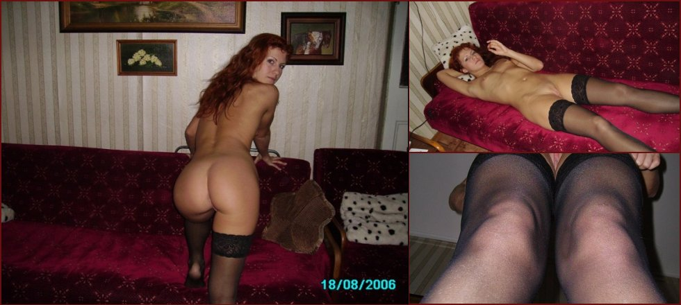Naked red-haired amateur in stockings - 11