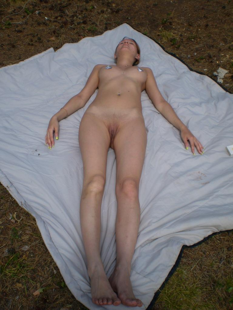 Naked amateur is sunbathing on the tower - 2