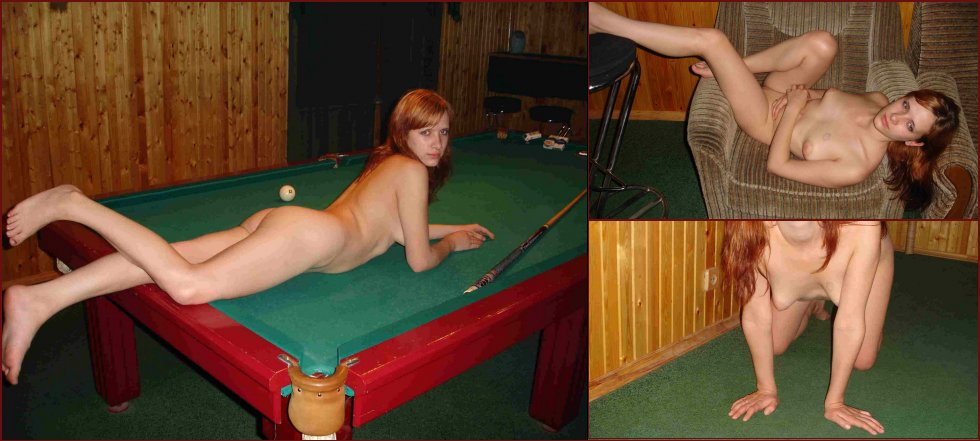 Naked redhead wants to play on the billiards - 50