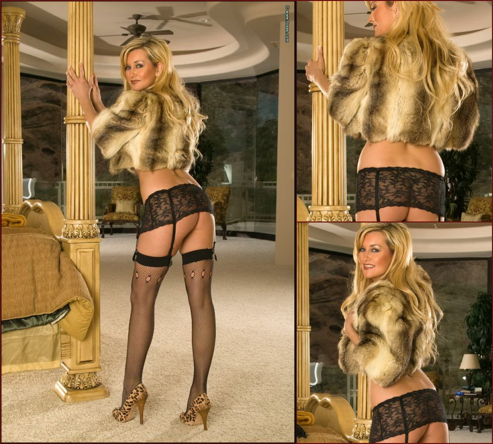 Sexy blonde MILF in the fur short jacket - Carol Ann - 33