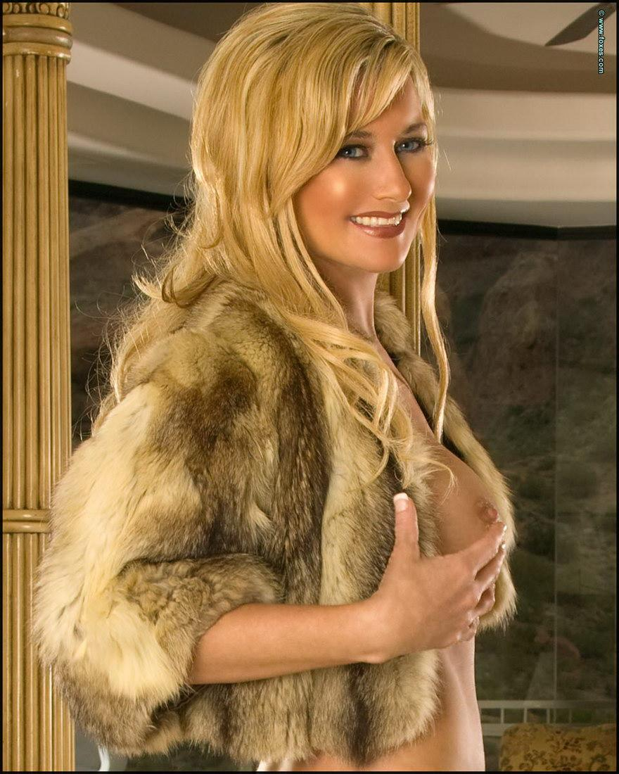 Sexy blonde MILF in the fur short jacket - Carol Ann - 12