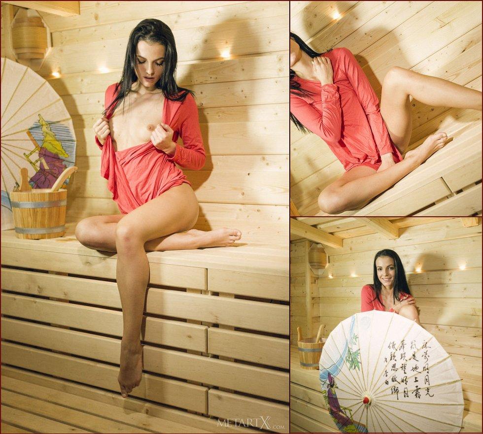 Pretty Sapphira is masturbating in sauna - 77