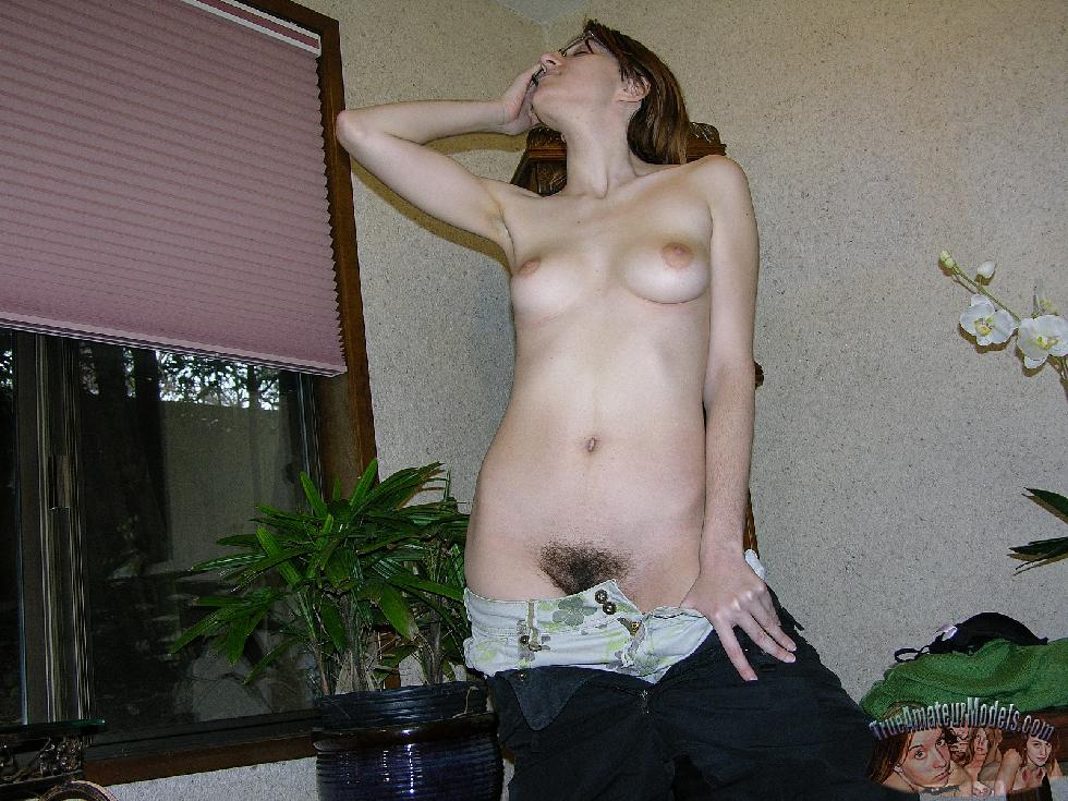 Amber is showing her hairy pussy. Part 1 - 5