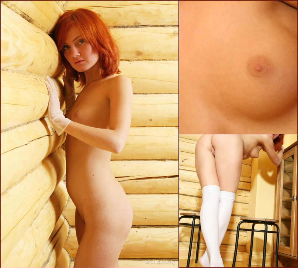 Redhead in white gloves and stockings - Tamina - 78