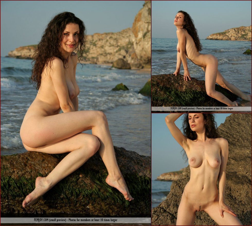 Stunning Terri is posing on the beach - 36