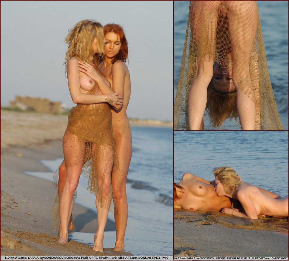 Young blonde and redhead on the beach - Lidiya & Yara - 41