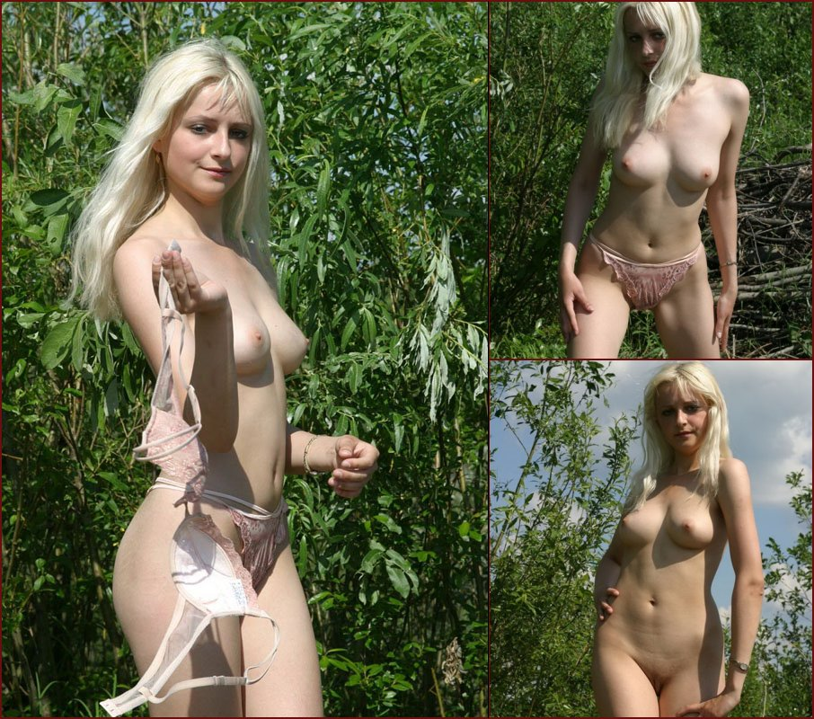 Pretty blonde strips her underwear outdoor - 10