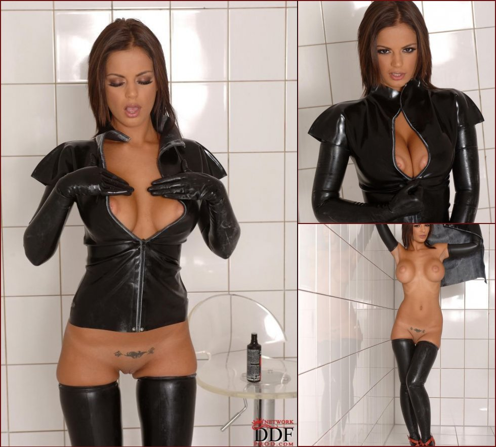 Black Angelica strips her sexy latex jacket - 24