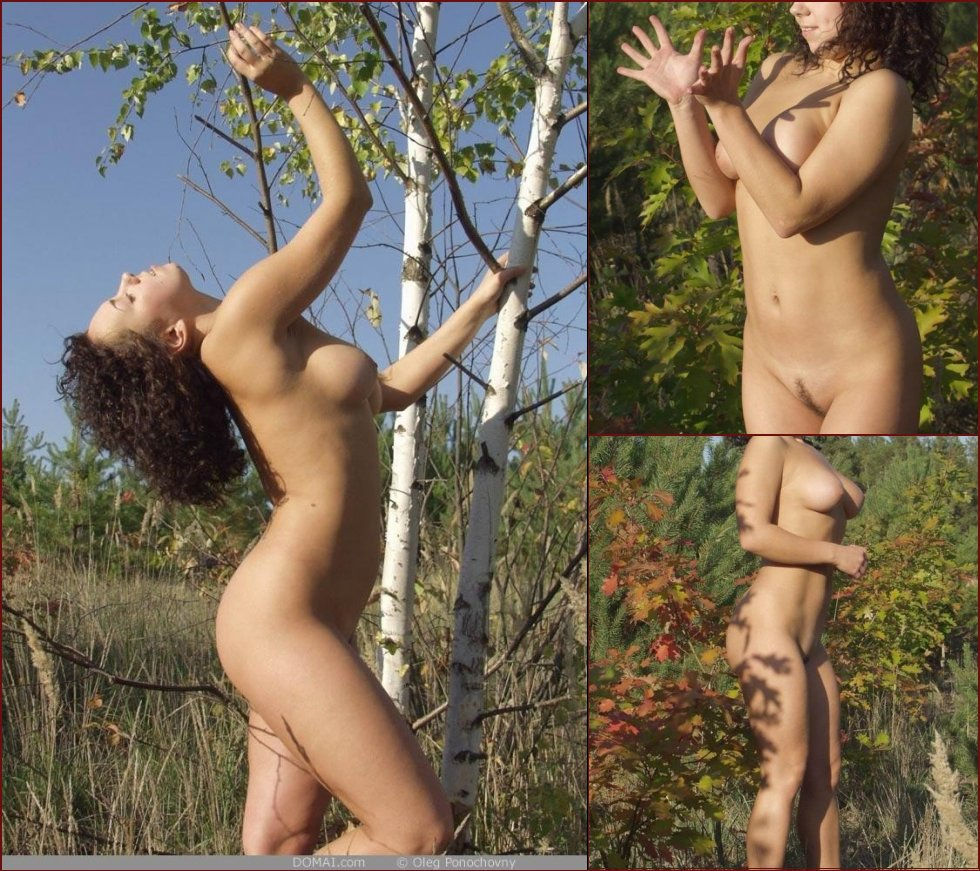 Busty Olianna is posing naked in nature - 4