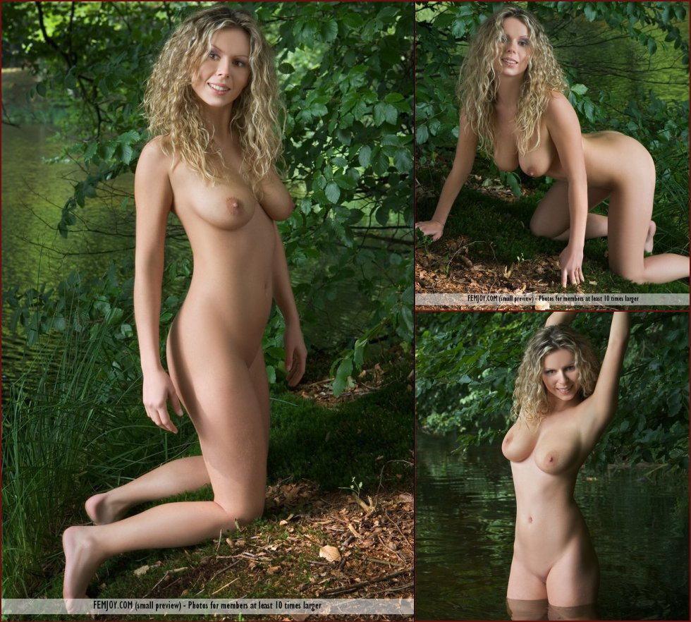 Amazing blonde is posing naked in the lake - Mandy - 43