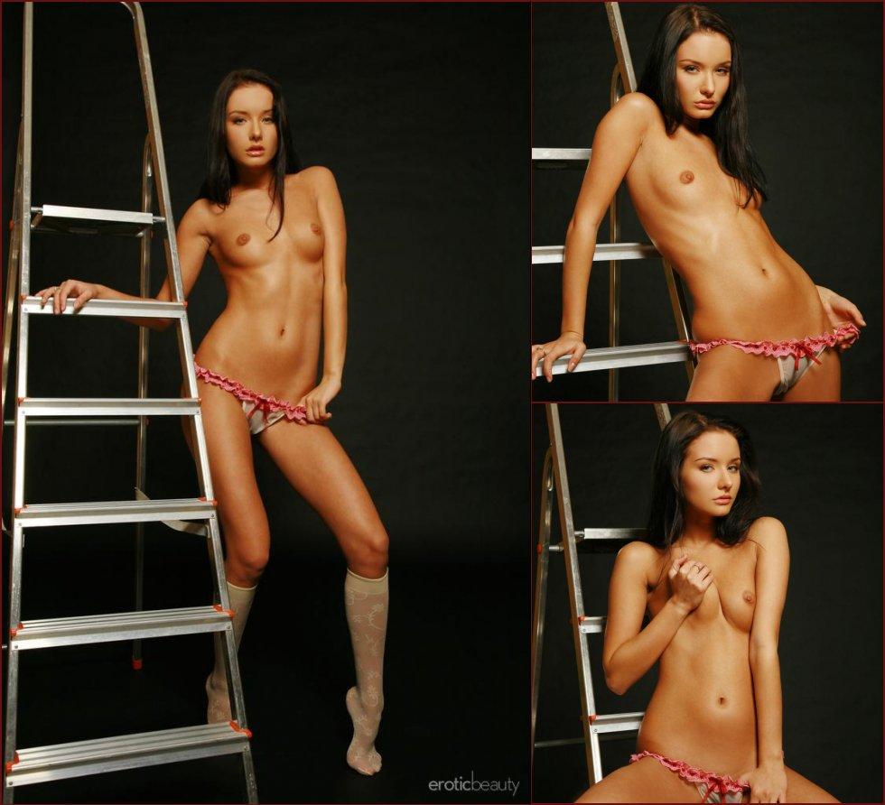 Slim Sasha is posing on the ladder - 13