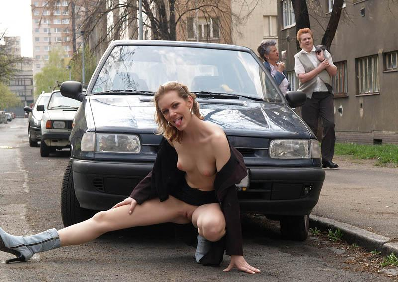 Blonde girl is posing in public places. Part 2 - 4
