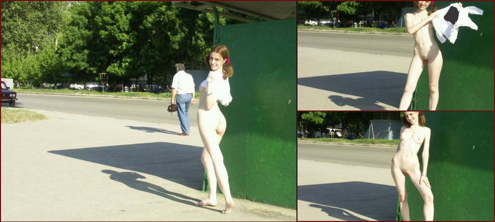 Cute teen is posing naked in public place - 40