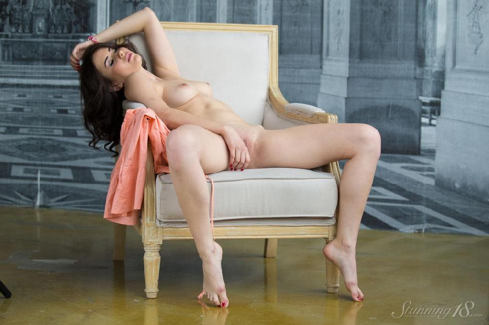 Viola is tempting on the white armchair - 15