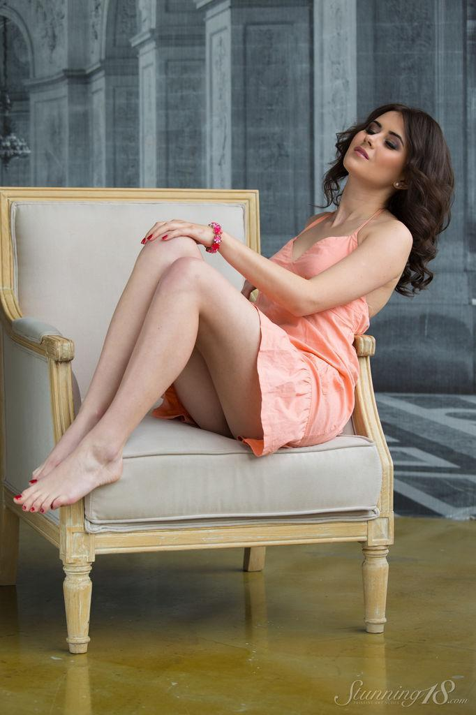 Viola is tempting on the white armchair - 3