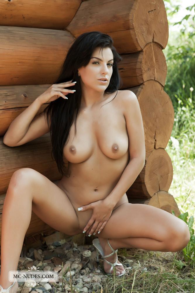 Naked brunette is tempting in stilettos - Anella - 14