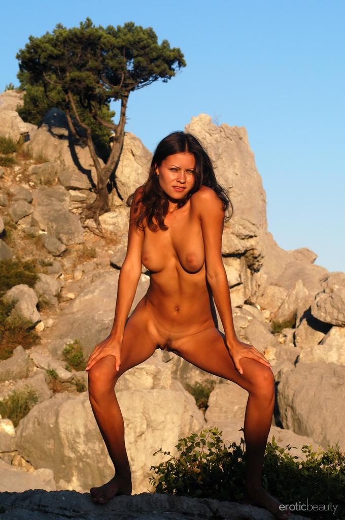 Naked session at sunset with pretty Alena - 12