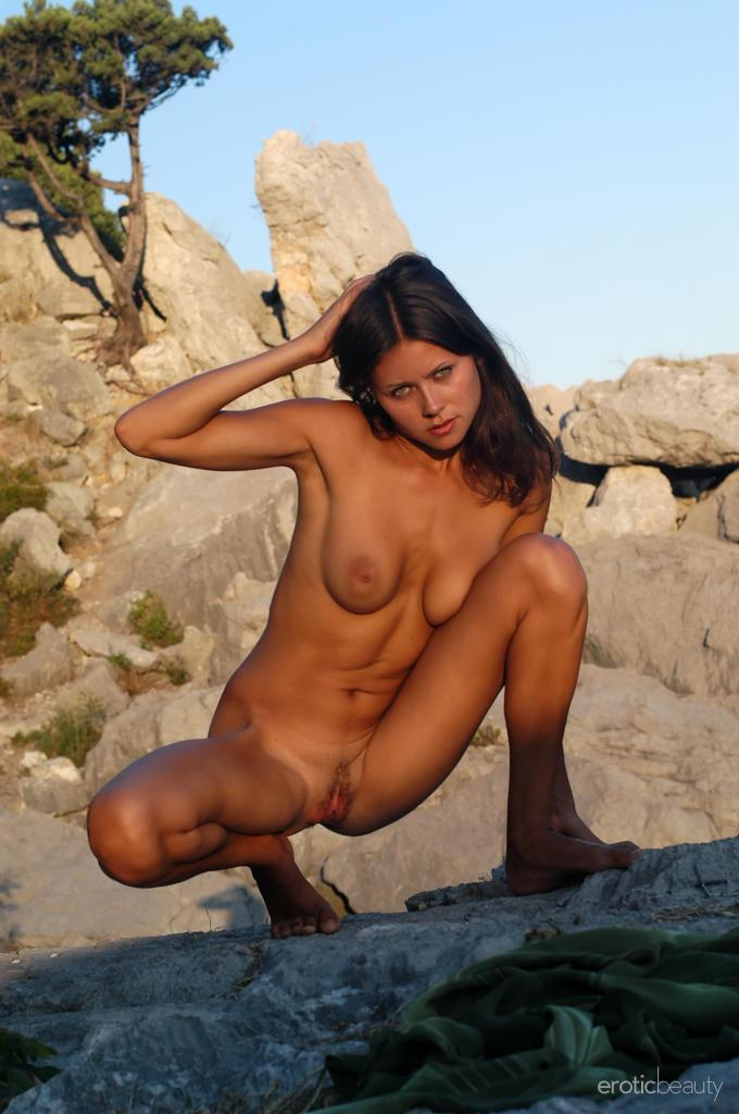 Naked session at sunset with pretty Alena - 15