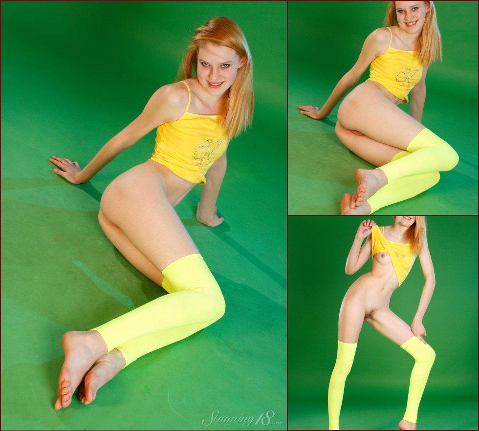 Pretty teen in green studio - Shanna - 18