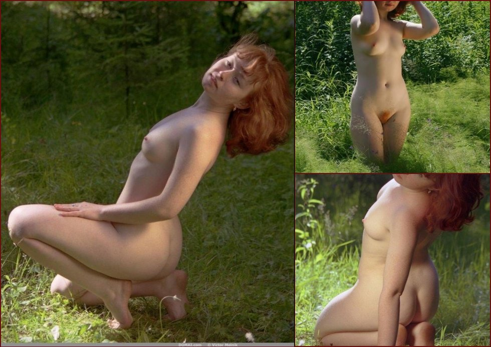 Red-haired Ginger is posing in nature. Part 2 - 2