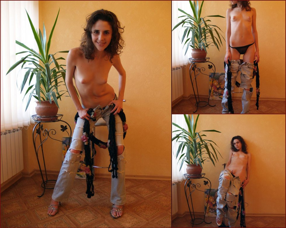 Brunette is stripping her jeans - 20