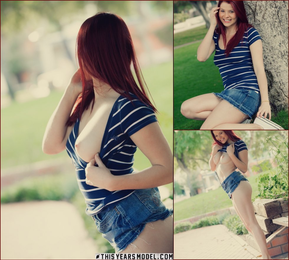 Lovely redhead is posing in public places - Mindy Corin - 98