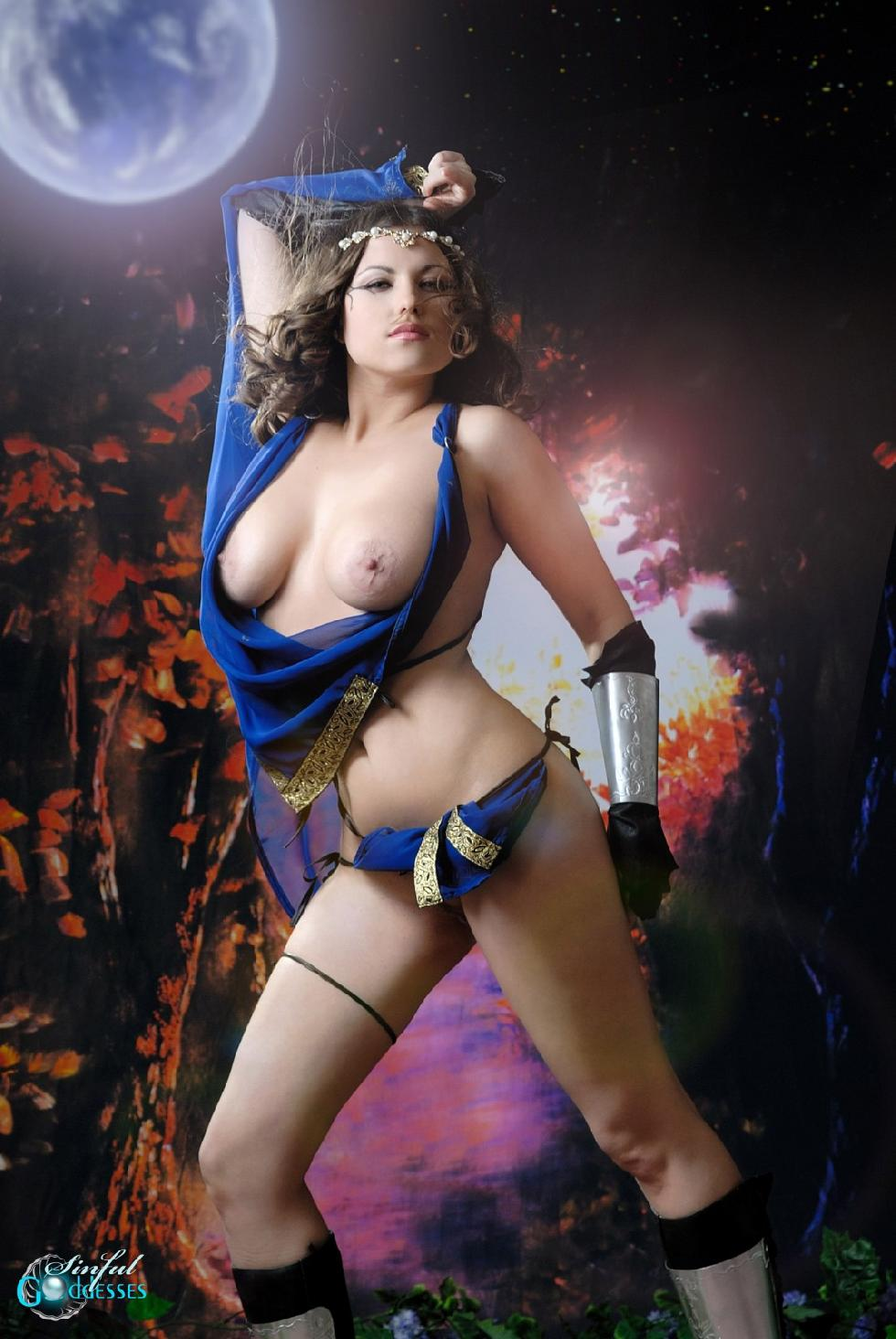 Busty Mia as beautiful warrior. Part 2