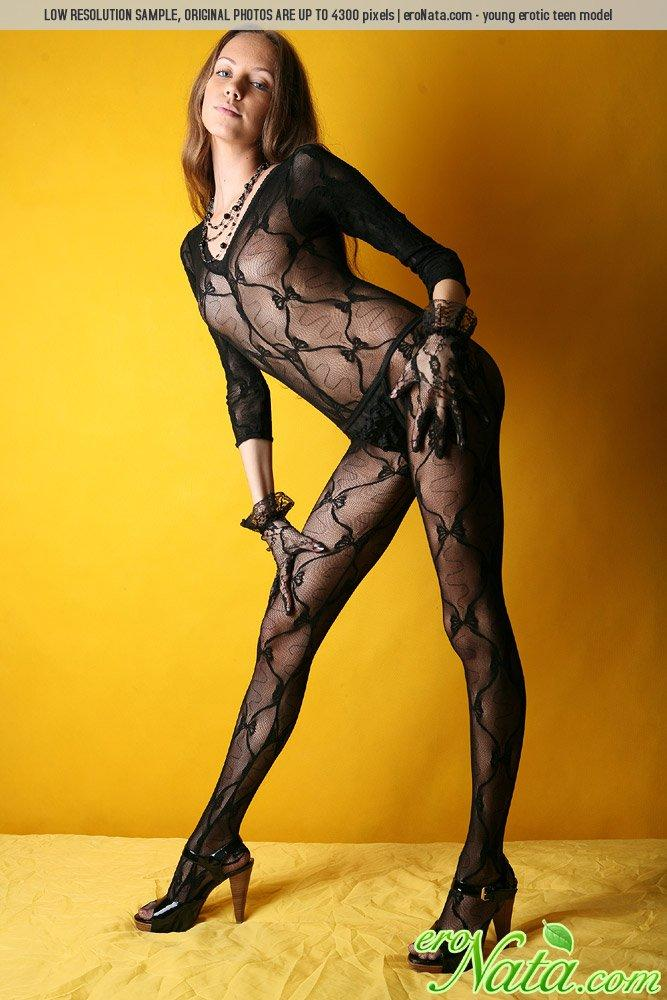 Young Nata is posing in sexy bodystocking