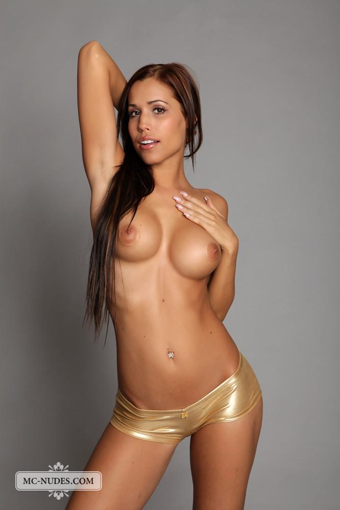 Long-haired model with sexy, tanned body - Satin