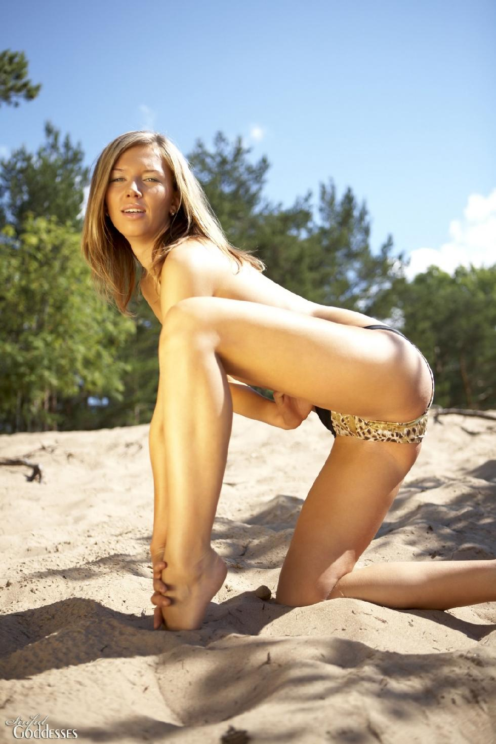 Wild Gema is posing on the beach. Part 1