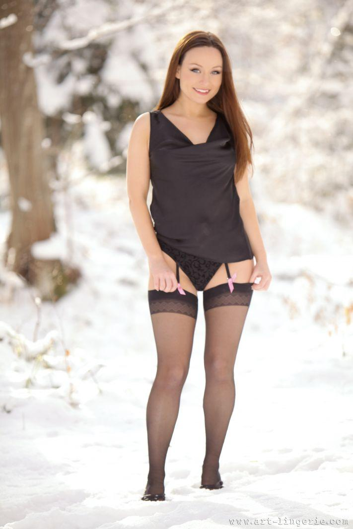 Hot Carla is posing on the snow - 2